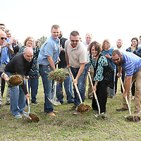Adam Robison | BUY AT PHOTOS.DJOURNAL.COM<br /> Jerry Jones, General Manager at WTVA, Scott Spencer, Miss 98, Mark Simpson, Legacy Construction, Kenneth Estes, president of Home Builders Remodelers Association of North Mississippi, Shonda Wilemon Sharpe, the Wilemon Foundation and Trey Wilemon, Specialty Sales and Supply, break ground for the St. Jude Dream home that will be located at 1388 Rowan Oak in Tupelo Wednesday morning. The home, valued at $325,000 and other high-end prizes can be won by purchasing a $100.00 raffle ticket.