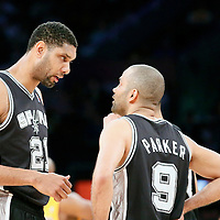 19 March 2014: San Antonio Spurs forward Tim Duncan (21) talks to San Antonio Spurs guard Tony Parker (9) during the San Antonio Spurs 125-109 victory over the Los Angeles Lakers at the Staples Center, Los Angeles, California, USA.