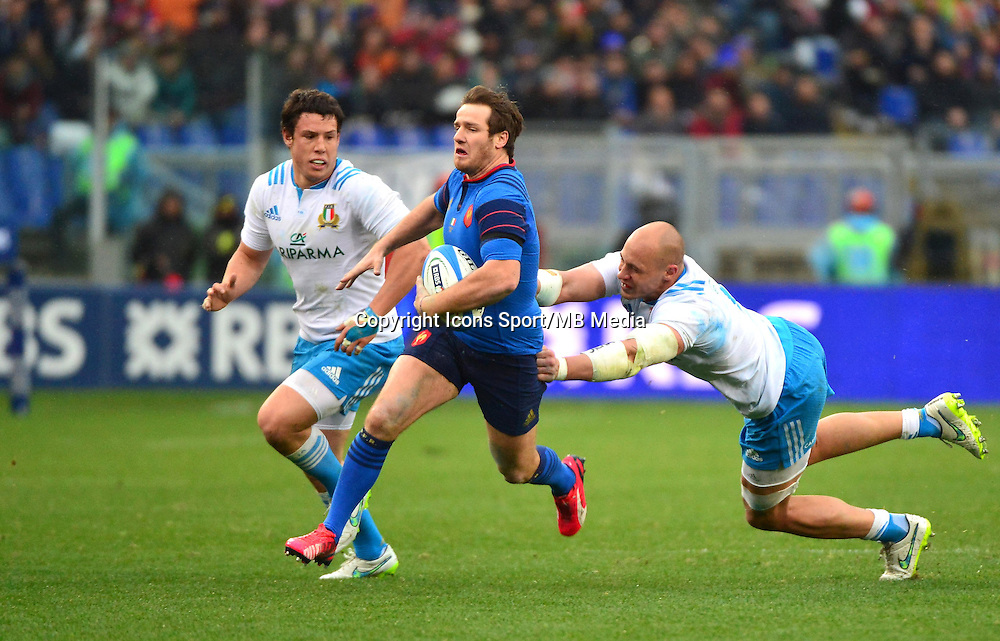 Camille LOPEZ / Sergio PARISSE - 15.03.2015 - Rugby - Italie / France - Tournoi des VI Nations -Rome<br /> Photo : David Winter / Icon Sport
