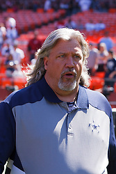 September 18, 2011; San Francisco, CA, USA; Dallas Cowboys defensive coordinator Rob Ryan enters the field before the game against the San Francisco 49ers at Candlestick Park.