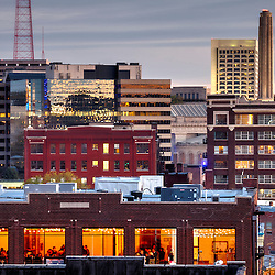Crossroads District, and view of Liberty Memorial and Federal Reserve Bank of Kansas City building, downtown Kansas City, Missouri.