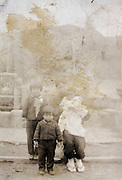 memory photo of wife with children for soldier wwII