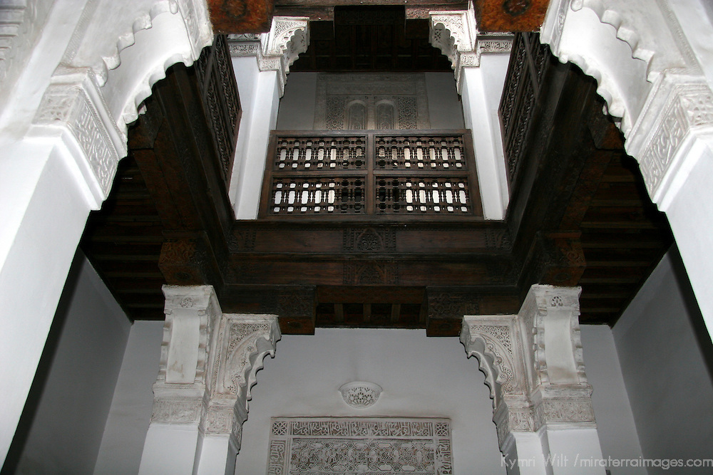 North Africa, Morocco, Marrakesh. Student barracks hall at the Ben Youssef Madrassa.