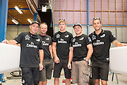Ray Davies, Chris Nicholson, Peter Burling, Glenn Ashby and Blair Tuke. Emirates Team New Zealand sailors prepare for the upcoming A Class National championships  and World championships regattas being sailed at Takapuna in Auckland. 5/2/2014