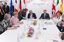From left to right, Theresa May, Angela Merkel, Jean-Claude Juncker, Donald Tusk and Emmanuel Macron.<br /> EU meeting with French President Emmanuel Macron, Prime Minister of United Kingdom Theresa May, German Chancellor Angela Merkel, President of European Commission Jean-Claude Juncker, Prime Minister of Netherland Mark Rutte, President of European Council Donald Tusk, Prime Minister of Spain Pedro Sanchez and Prime Minister of Italy Giuseppe Conte during G20. Osaka, Japan, on June 29, 2019. Photo by Jacques Witt/Pool/ABACAPRESS.COM
