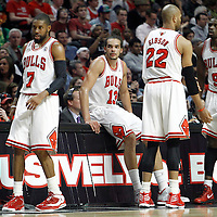 16 March 2012: Chicago Bulls center Joakim Noah (13) is seen next to Chicago Bulls forward Taj Gibson (22), Chicago Bulls small forward Luol Deng (9) and Chicago Bulls point guard C.J. Watson (7) during the Portland Trail Blazers 100-89 victory over the Chicago Bulls at the United Center, Chicago, Illinois, USA.