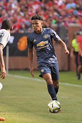 July 28, 2018 - Ann Arbor, MI, U.S. - ANN ARBOR, MI - JULY 28: Manchester United Defender Demetri Mitchell (35) moves the up the pitch in the ICC soccer match between Manchester United FC and Liverpool FC on July 28, 2018 at Michigan Stadium in Ann Arbor, MI. (Photo by Allan Dranberg/Icon Sportswire) (Credit Image: © Allan Dranberg/Icon SMI via ZUMA Press)