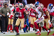 San Francisco 49ers wide receiver Marquise Goodwin (11) carries the ball against the New York Giants at Levi's Stadium in Santa Clara, Calif., on November 12, 2017. (Stan Olszewski/Special to S.F. Examiner)