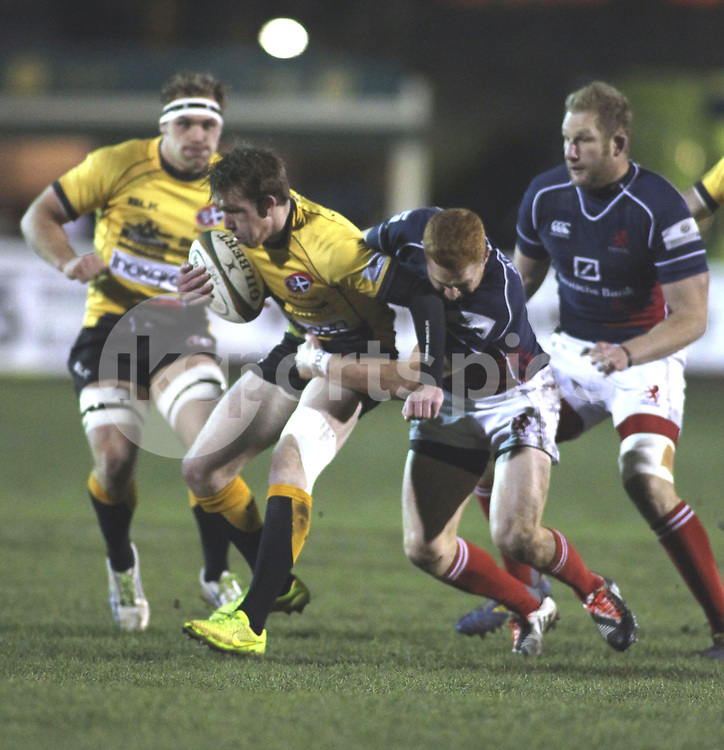 Connor Braid in action during the Green King IPA Championship match between London Scottish &amp; Cornish Pirates at Richmond, Greater London on 16th January 2015<br /> <br /> Photo: Ken Sparks | UK Sports Pics Ltd<br /> London Scottish v Cornish Pirates, Green King IPA Championship, 16h January 2015<br /> <br /> &copy; UK Sports Pics Ltd. FA Accredited. Football League Licence No:  FL14/15/P5700.Football Conference Licence No: PCONF 051/14 Tel +44(0)7968 045353. email ken@uksportspics.co.uk, 7 Leslie Park Road, East Croydon, Surrey CR0 6TN. Credit UK Sports Pics Ltd