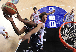 Kevin Durant  of USA vs Semih Erden of Turkey during the finals basketball match between National teams of Turkey and USA at 2010 FIBA World Championships on September 12, 2010 at the Sinan Erdem Dome in Istanbul, Turkey.   (Photo By Vid Ponikvar / Sportida.com)