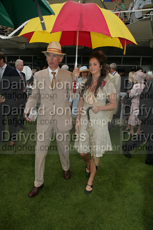 Rod Fabricus and Calypso Lawrence. Glorious Goodwood. 2 August 2007.  -DO NOT ARCHIVE-© Copyright Photograph by Dafydd Jones. 248 Clapham Rd. London SW9 0PZ. Tel 0207 820 0771. www.dafjones.com.