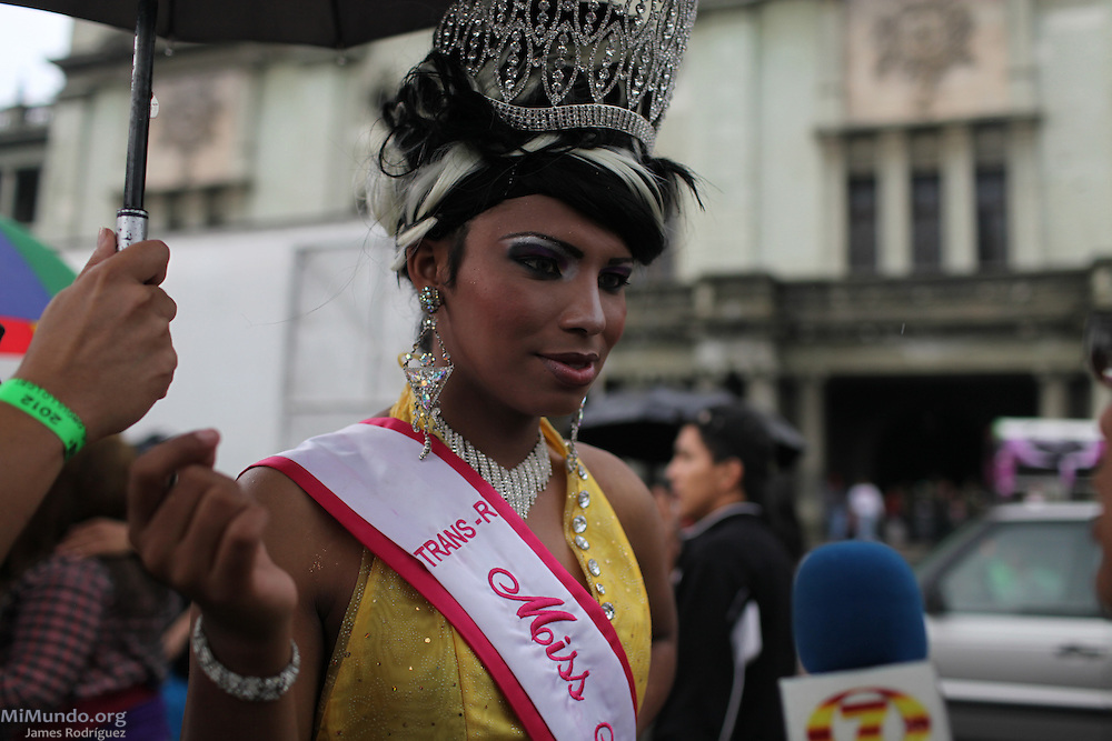 Members of the Guatemalan Lesbian, Gay, Bisexual and Transgender community parade during the annual LGBT Pride festival in Zone 1. Guatemala City, Guatemala. June 30, 2012.