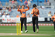 Suzie Bates and Carla Rudd of Southern Vipers celebrate the wicket of Bryony Smith during the Women's Cricket Super League match between Southern Vipers and Surrey Stars at the 1st Central County Ground, Hove, United Kingdom on 14 August 2018.