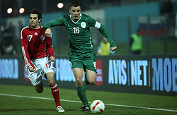 Anton Zlogar (16) of Slovenia tussels for the ball with Kenneth Perez (17) of Denmark during the UEFA Friendly match between national teams of Slovenia and Denmark at the Stadium on February 6, 2008 in Nova Gorica, Slovenia.  Slovenia lost 2:1. (Photo by Vid Ponikvar / Sportal Images).