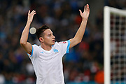 Florian Thauvin jubilates after his goal during the French Championship Ligue 1 football match between Olympique de Marseille and Toulouse FC on September 24, 2017 at Orange Velodrome stadium in Marseille, France - Photo Philippe Laurenson / ProSportsImages / DPPI
