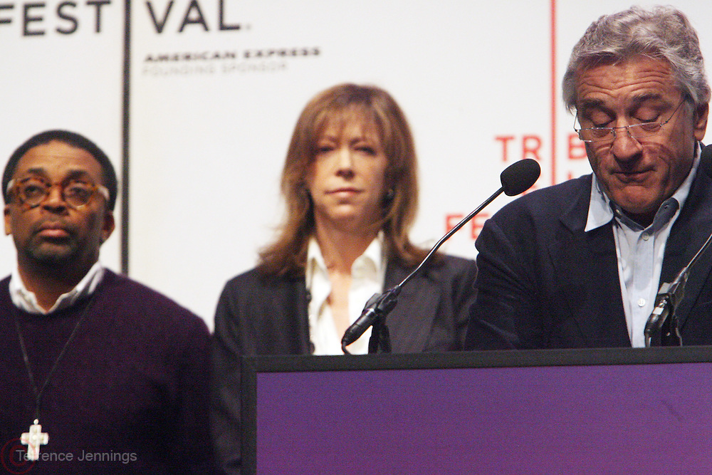 l to r: Spike Lee, Jane Rosenthal and Robert De Niro at The 2009 Tribeca Film Festival Opening Press Conference Kick-Off held at The Borough of Manhattan Community College in New york City on April 21, 2009
