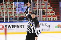 2020-02-12 | Ljungby, Sweden: A linesmen during the game between IF Troja / Ljungby and Huddinge IK at Ljungby Arena ( Photo by: Fredrik Sten | Swe Press Photo )<br /> <br /> Keywords: Ljungby, Icehockey, HockeyEttan, Ljungby Arena, IF Troja / Ljungby, Huddinge IK, fsth200212, ATG HockeyEttan, Allettan