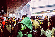 Group of people outside Shoreditch Station at Freedom to Party Protest, London 2016