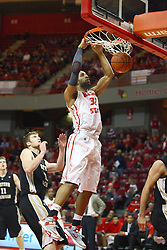 08 December 2012: Jackie Carmichael slams during an NCAA mens basketball game between the Western Michigan Broncos and the Illinois State Redbirds (Missouri Valley Conference) in Redbird Arena, Normal IL