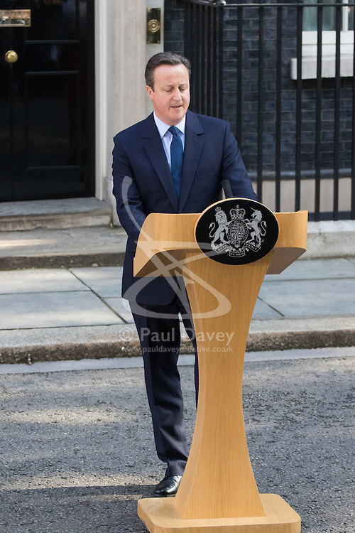 Downing Street, London, June 24th 2016. British Prime Minister David Cameron appears before the world's press gathered in Downing Street and announces that he will step aside with a new Prime Minister in place before the Party Conference, after the country votes to leave the European Union.