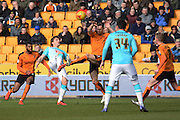 Wolverhampton Wanderers midfielder Kevin McDonald attempts to block Derby County striker Chris Martin's pass during the Sky Bet Championship match between Wolverhampton Wanderers and Derby County at Molineux, Wolverhampton, England on 27 February 2016. Photo by Alan Franklin.