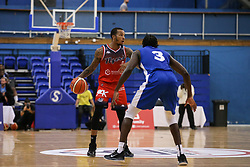 Gentry Thomas of Bristol Flyers in possession - Photo mandatory by-line: Arron Gent/JMP - 28/09/2019 - BASKETBALL - Crystal Palace National Sports Centre - London, England - London City Royals v Bristol Flyers - British Basketball League Cup