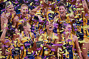 Sunshine Coast Lightning team celebrates winning the final.<br /> PERTH, AUSTRALIA - AUGUST 26: West Coast Fever vs the Sunshine Coast Lightning during the Suncorp Super Netball Grand Final match from Perth Arena - Sunday 26th August 2018 in Perth, Australia. (Photo by Daniel Carson/dcimages.org/Netball WA)