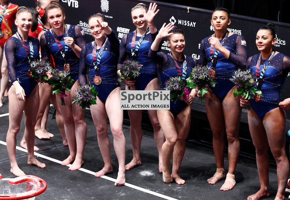 2015 Artistic Gymnastics World Championships being held in Glasgow from 23rd October to 1st November 2015...Great Britain women win bronze medal in the women's team final...(c) STEPHEN LAWSON | SportPix.org.uk