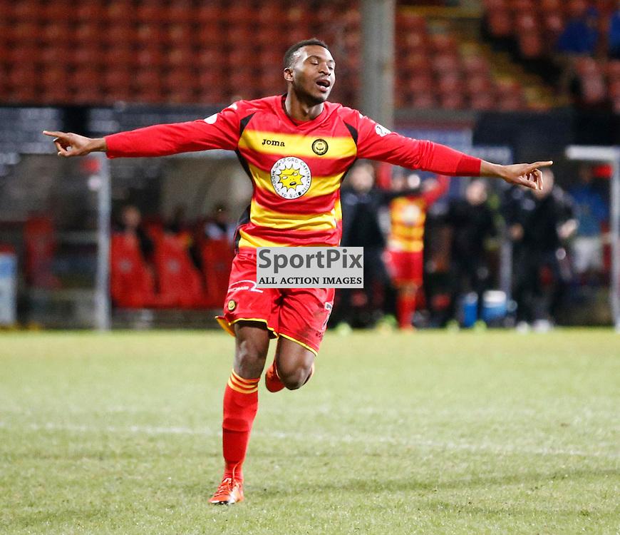Partick Thistle v St.Johnstone in the Ladbrokes Premiership.... David Amoo (Partick Thistle) makes it 2-0 ....(c) STEPHEN LAWSON | SportPix.org.uk