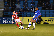 Walsall forward Milan Lalkovic (left) during the Sky Bet League 1 match between Gillingham and Walsall at the MEMS Priestfield Stadium, Gillingham, England on 12 April 2016. Photo by Martin Cole.