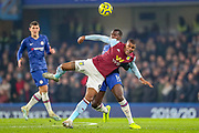 Aston Villa forward Wesley (9) tussles with Chelsea defender Kurt Zouma (15) during the Premier League match between Chelsea and Aston Villa at Stamford Bridge, London, England on 4 December 2019.