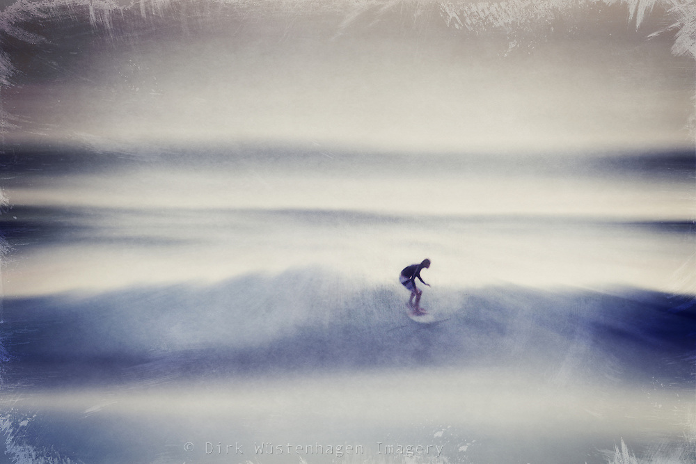 Surfer riding the wavves. Abstraction of a photo.<br />