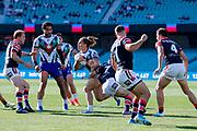 Chanel Harris-tavita on attack close to the line. Sydney Roosters v Vodafone Warriors. NRL Rugby League. Sydney Cricket Ground, Sydney, Australia. 18th August 2019. Copyright Photo: David Neilson / www.photosport.nz