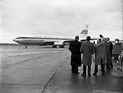 "06/12/1960<br /> 12/06/1960<br /> 06 December 1960<br /> Inaugural flight of new Irish Boeing Jetliner ""Padraig"" to New York. Image shows the jet preparing to depart Dublin Airport."