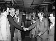 President Hillery at The Community Games..1979..15.09.1979..09.15.1979..15th September 1979..President Patrick Hillery attended the opening of The National Community Games finals at Mosney, Co Meath today. The finals were held in the grounds of The Butlins Holiday Centre and were sponsored by Tayto Irl Ltd,Greencastle Road,Coolock,Dublin..The President Dr Hillery pictured meeting with members of the Tayto staff on duty at the event.