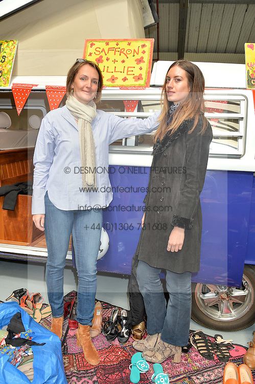 Left to right, SAFFRON ALDRIDGE and LILLIE RAGE at #SheInspiresMe Car Boot Sale in Aid of Women for Women International held at the Brewer Street Carpark, Soho, London on 23rd April 2016.