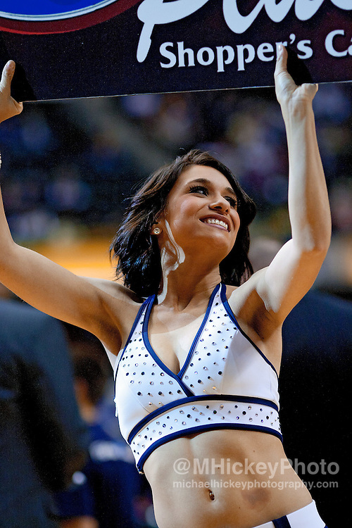 Dec. 30, 2011; Indianapolis, IN, USA; Indiana Pacers cheerleader seen on the court during game  against the Cleveland Cavaliers at Bankers Life Fieldshouse. Indiana defeated Cleveland 81-91. Mandatory credit: Michael Hickey-US PRESSWIRE