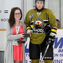 "TRENTON, ON  - MAY 4,  2017: Canadian Junior Hockey League, Central Canadian Jr. ""A"" Championship. The Dudley Hewitt Cup. Game 5 between The Georgetown Raiders and The Powassan Voodoos. Player of the game Award  Andy Baker #11 of the Powassan Voodoos <br /> (Photo by Amy Deroche / OJHL Images)"