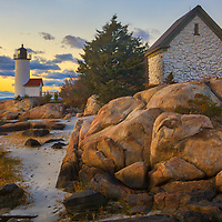 Annisquam Harbor Light in Gloucester, MA shortly before sunrise is an iconic New England lighthouse located on Cape Ann, north of Boston. <br />