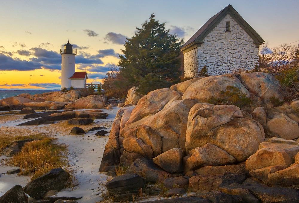 Annisquam Harbor Light in Gloucester, MA shortly before sunrise is an iconic New England lighthouse located on Cape Ann, north of Boston. <br /> <br /> Picturesque New England lighthouses photography images are available as museum quality photography prints, canvas prints, acrylic prints, wood prints or metal prints. Fine art prints may be framed and matted to the individual liking and decorating needs:<br /> <br /> https://juergen-roth.pixels.com/featured/annisquam-harbor-lighthouse-juergen-roth.html<br /> <br /> Good light and happy photo making!<br /> <br /> My best,<br /> <br /> Juergen<br /> Prints: http://www.rothgalleries.com<br /> Photo Blog: http://whereintheworldisjuergen.blogspot.com<br /> Instagram: https://www.instagram.com/rothgalleries<br /> Twitter: https://twitter.com/naturefineart<br /> Facebook: https://www.facebook.com/naturefineart
