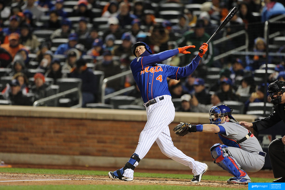 Wilmer Flores, New York Mets, batting during the MLB NLCS Playoffs game two, Chicago Cubs vs New York Mets at Citi Field, Queens, New York. USA. 18th October 2015. Photo Tim Clayton