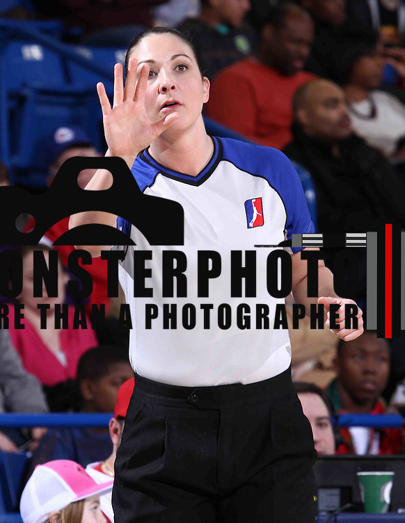 NBA Official Lauren Holtkamp (11) seen in the first half of a NBA D-league regular season basketball game between the Delaware 87ers and the Erie BayHawk (Orlando Magic) Friday, Mar. 27, 2015 at The Bob Carpenter Sports Convocation Center in Newark, DEL.