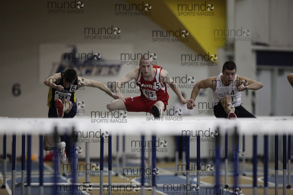 Windsor, Ontario ---13/03/09--- Christopher Theriau of  York University competes in the 60 meter hurdle prelims at the CIS track and field championships in Windsor, Ontario, March 13, 2009..GEOFF ROBINS Mundo Sport Images