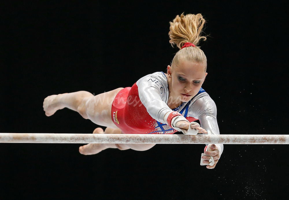 Noel van Klaveren of the Netherland competes on the Uneven Bars during the women's all around final at the Artistic Gymnastics World Championships in Antwerp, Belgium, 04 October 2013.