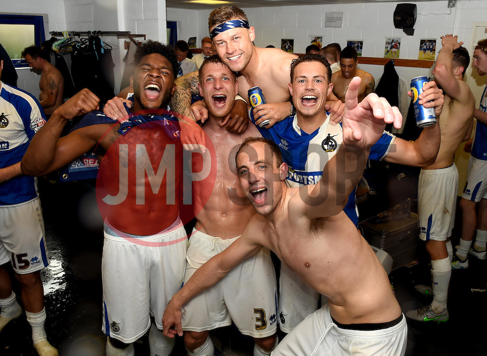 Ellis Harrison, Lee Brown, James Clarke, Billy Bodin and Mark McChrystal of Bristol Rovers celebrate promotion in the dressing room  - Mandatory by-line: Joe Meredith/JMP - 07/05/2016 - FOOTBALL - Memorial Stadium - Bristol, England - Bristol Rovers v Dagenham and Redbridge - Sky Bet League Two