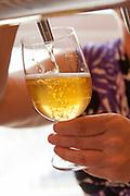 Apfelwein wird gezapft, Treuschs im Schwanen, Reichelsheim, Odenwald, Hessen, Deutschland | Cider is tapped, Treuschs in Schwanen, Reichelsheim, Odenwald, Hesse, Germany