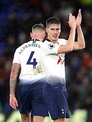 Tottenham Hotspur's Juan Foyth applauds the fans after the final whistle during the Premier League match at Selhurst Park, London.