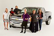 ROYAL OAK, MICHIGAN - OCTOBER 12: From left: Kim Brink, Andrea Riley, Michelle Lange, Dannielle Hudler, Candace Haag, and Kathy Speck pose with a Chevy Silverado pickup truck in Royal Oak, MI, Wednesday, October 12, 2011. .