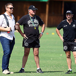DURBAN, SOUTH AFRICA - JANUARY 22: John Smit (Chief executive officer) of the Cell C Sharks with Gary Gold (Sharks Director of Rugby) and Johan Pretorius Head Strength & Conditioning Coach during the Cell C Sharks training session at Growthpoint Kings Park on January 22, 2016 in Durban, South Africa. (Photo by Steve Haag)