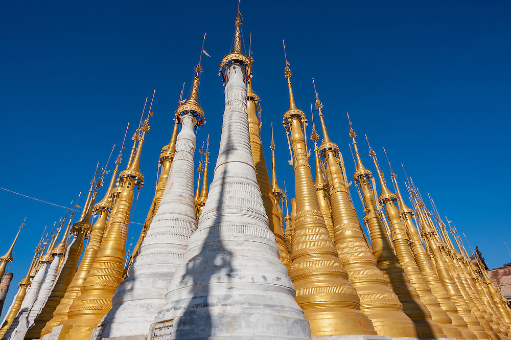 White and golden stupas at Indein (Inle Lake, Myanmar)
